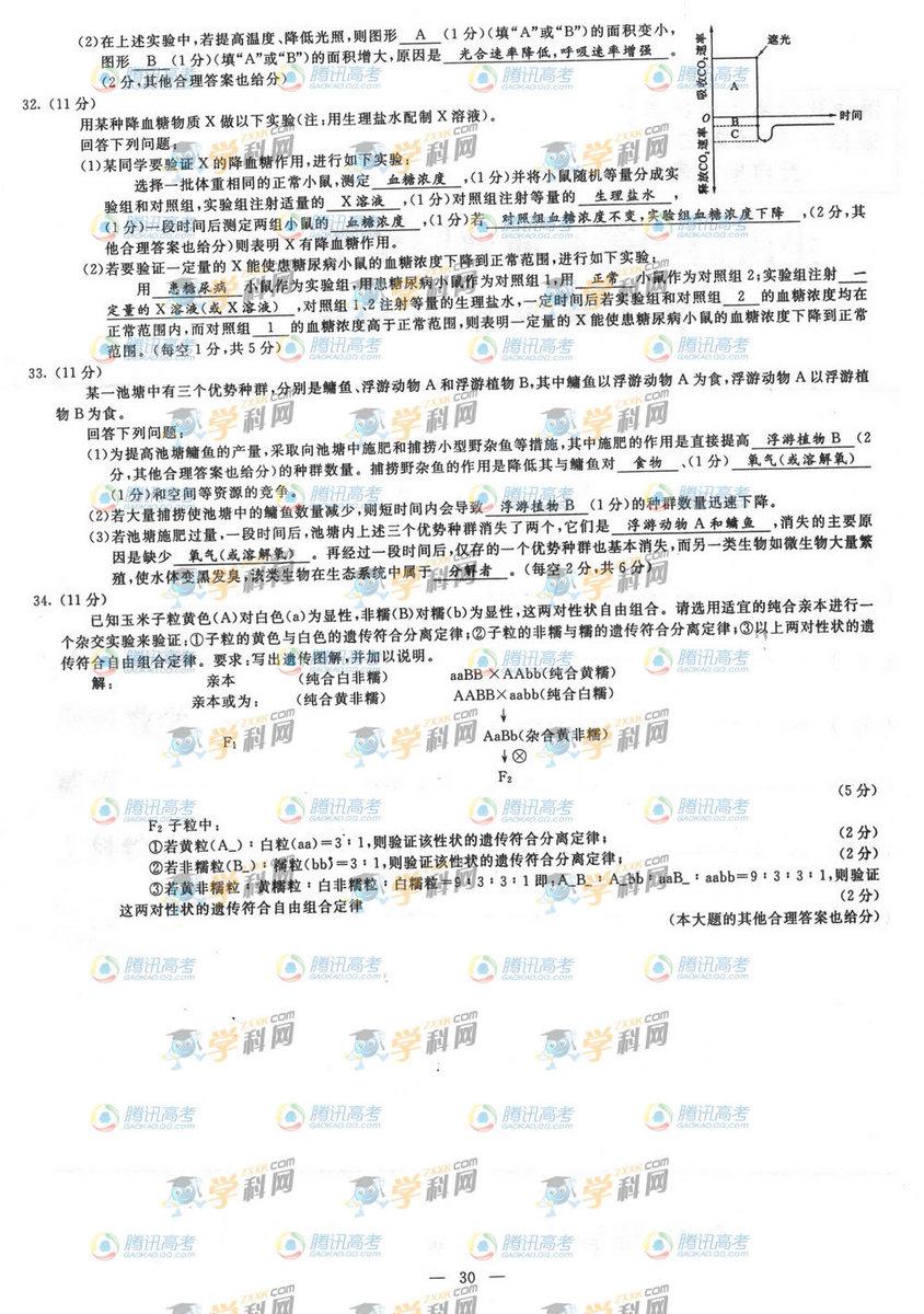 广西高考理综试题答案8