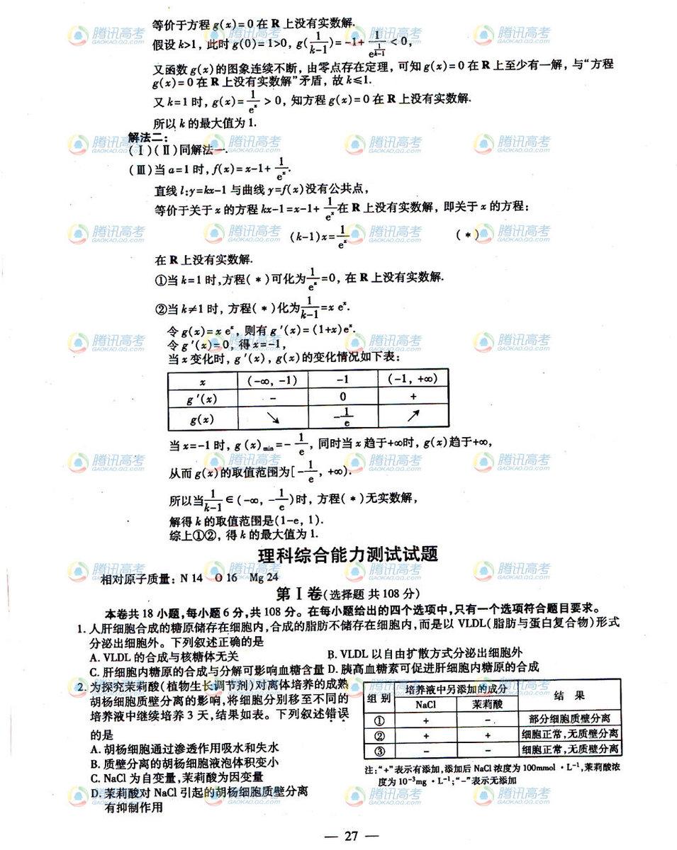 福建高考文科数学试题答案4
