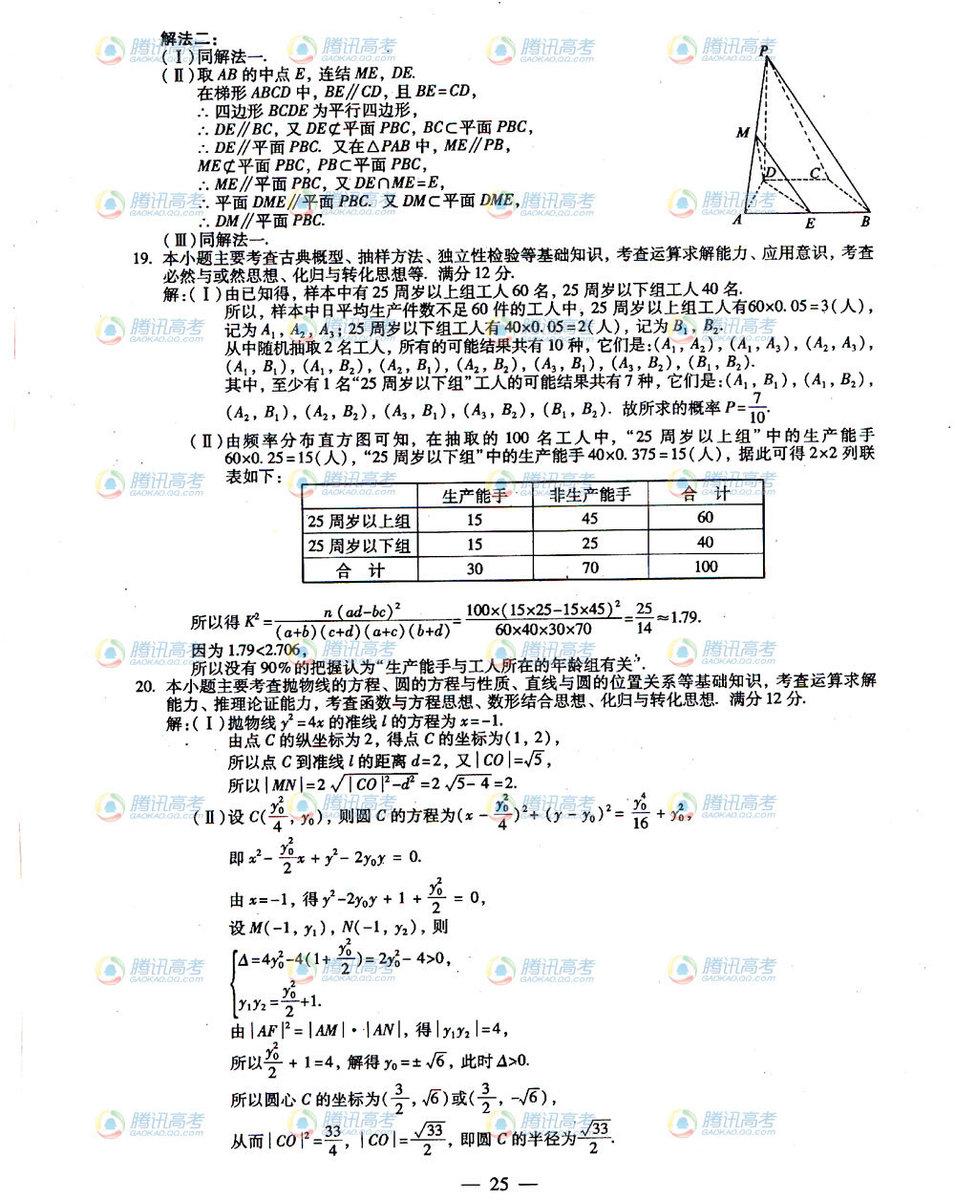 福建高考文科数学试题答案2