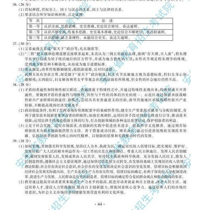 安徽高考文综试题答案2