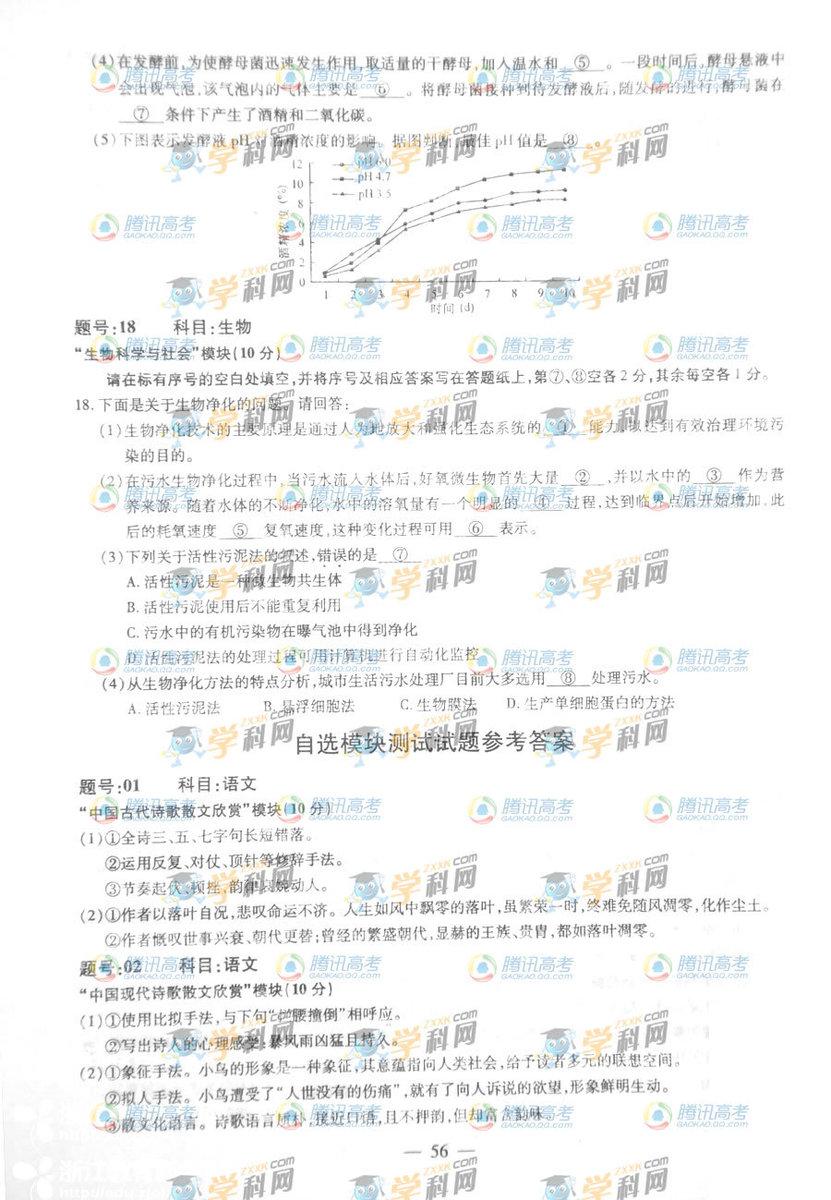 浙江高考自选试题答案1