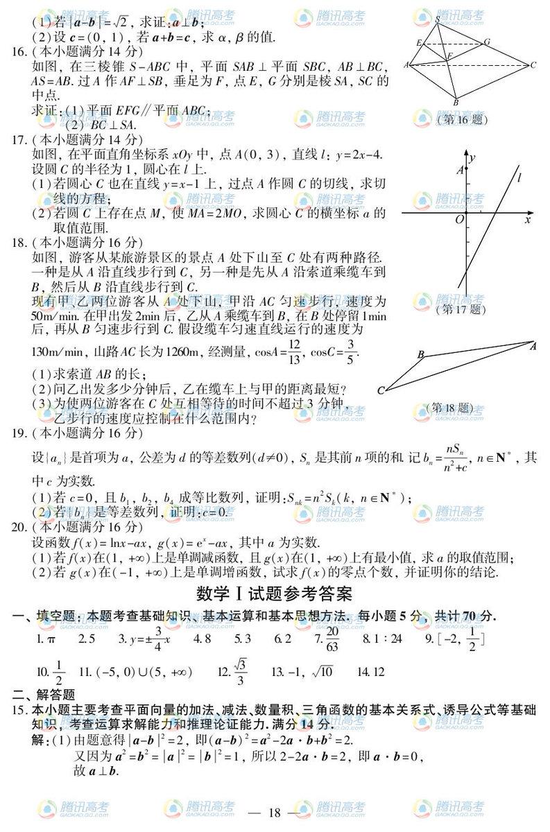 江苏高考数学试题答案1