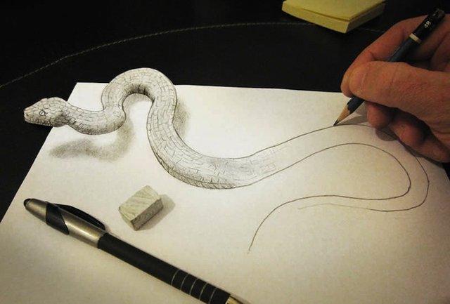 扑面而来的真实 超凶猛的3D素描图片