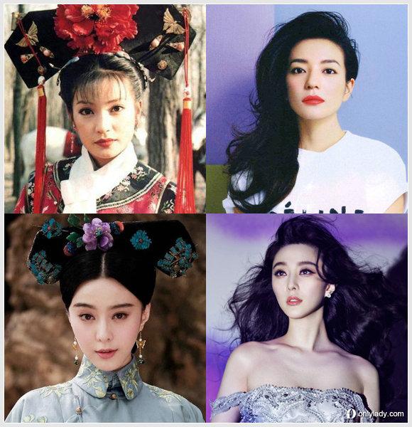 赵薇在《还珠格格》中的小燕子形象成为经典,旗头发型配上了稀疏