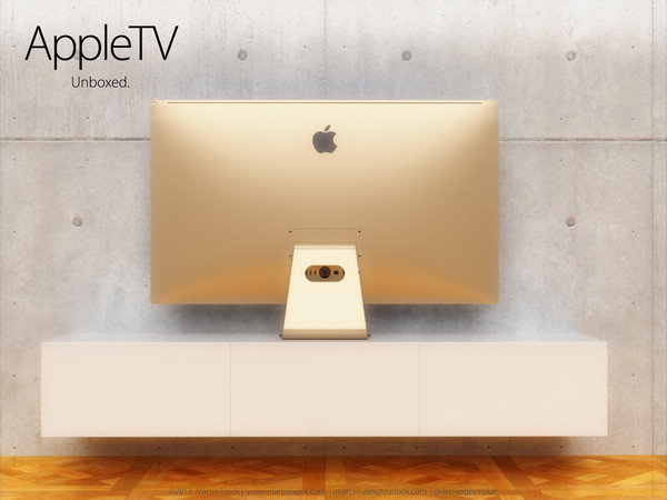 [组图]苹果曲面电视概念设计亮相 拥有土豪金配色