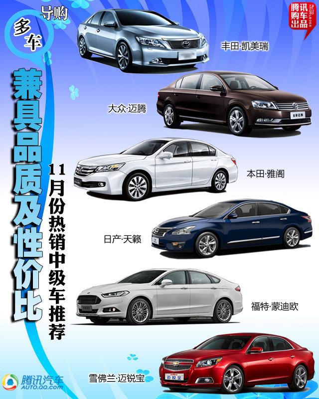 11月份热销中级车推荐 新车组团崛起