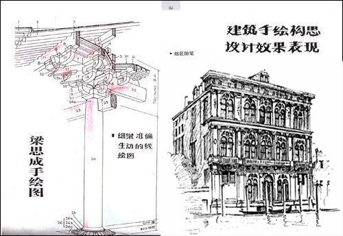 梁思成手绘西方建筑图