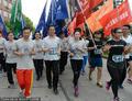 高清:上海大学生酷跑度五一 潘晓婷领跑助阵