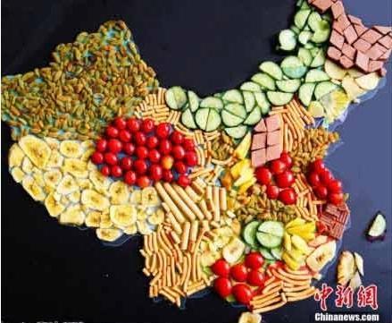 """大学生制作美食版中国""""地图"""" 创意十足"""