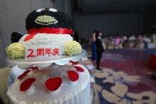 玫瑰谷精心制作的企鹅2周年庆生蛋糕