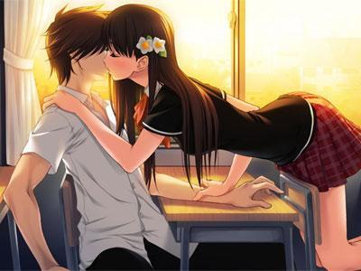 动漫人物情侣接吻