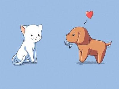 卡通猫狗情侣头像一对