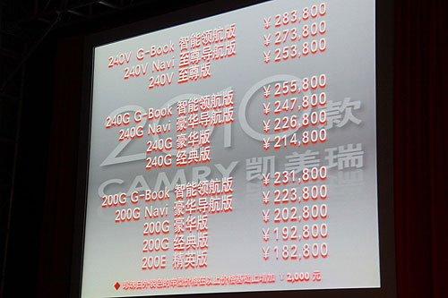2010款凯美瑞上市 售价18.28-28.38万元
