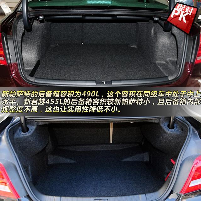 新帕萨特对比全新君越 全新君越的后排座椅同样能按比例放倒,但与后备箱的连接口相对较小,实用性有所下降。455L的后备箱容积较新帕萨特小,且后备箱内部规整度不高,这也让实用性降低不小。 版权声明:本文系腾讯汽车独家稿件,版权为腾讯汽车所有。欢迎转载,请务必注明出处(腾讯汽车)及作者,否则必将追究法律责任。