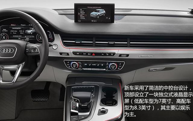 新车采用了简洁的中控台设计,顶部设立了一块独立式液晶显示屏(低配
