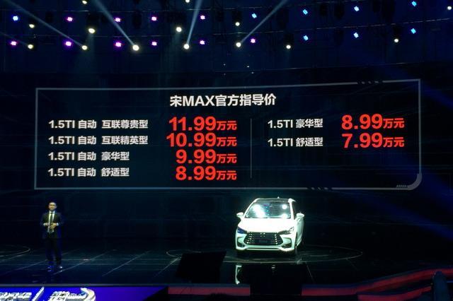 比亚迪宋MAX正式上市 售价7.99-11.99万元