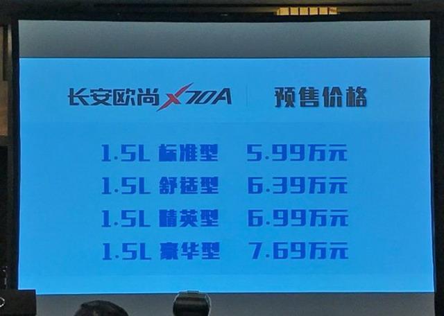 欧尚X70A预售5.99-7.69万 2018年1月上市