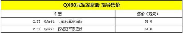 """英菲尼迪QX60""""冠军家庭版""""上市 51.8万起"""