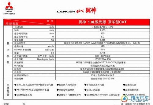 翼神1.8L致尚版今日上市 预售12.58万元