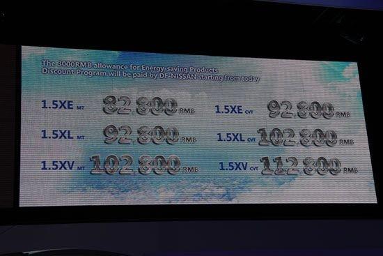东风日产新阳光上市 售8.28-11.28万元