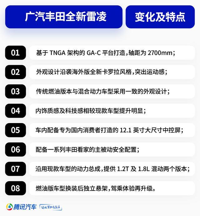 广汽丰田全新雷凌   沿袭海外设计/配置优化 晋级
