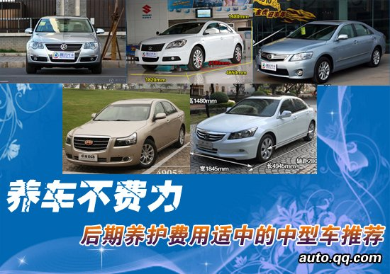 养车不费力 后期养护费用适中的中型车推荐