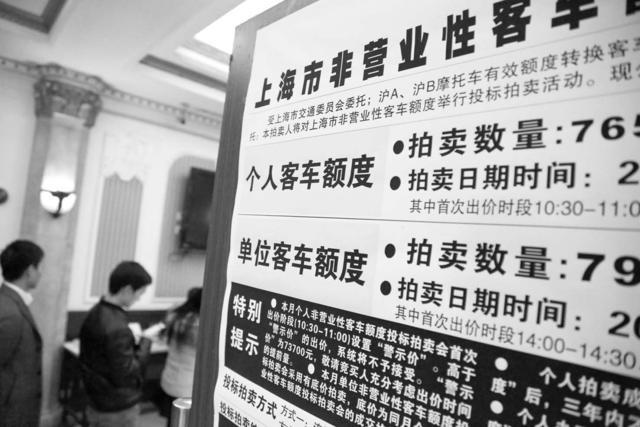 上海车牌拍卖成交均价8.7万创新高