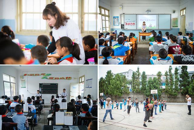 资教教师们为孩子们讲授音乐、美术、体育、英语等多彩课堂