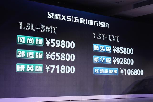 汉腾X5正式上市 售价5.98-10.68万元