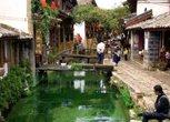 翠绿的街旁小河