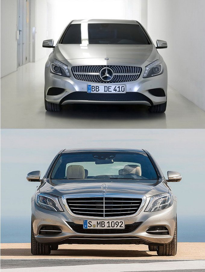 对比可能发现,新一代S级(下)的车头造型其实与A 级车(上)拥有相同的设计元素