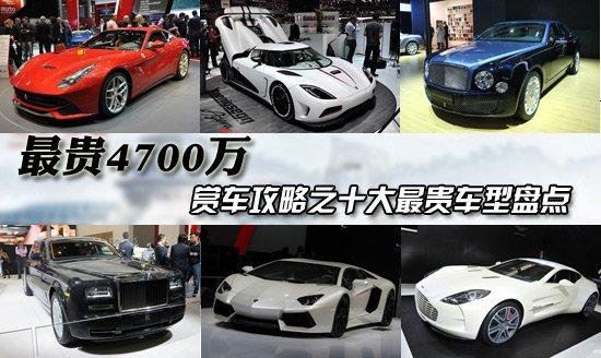 [车展导购]最高4700万 车展10大最贵车推荐