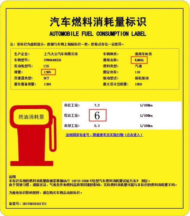 油耗最低5.8升 斯柯达KAROQ油耗曝光