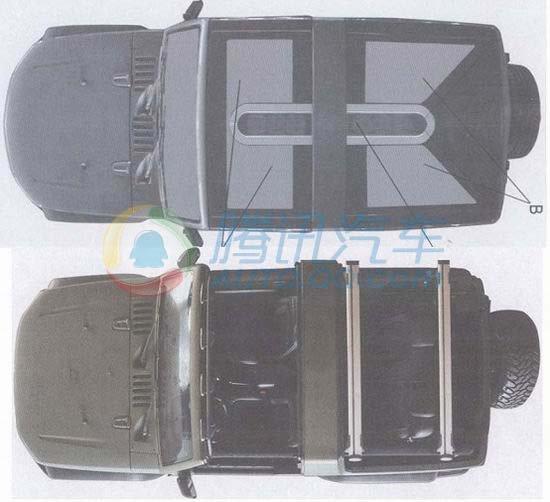 天窗版(上)和敞篷版俯视图-美版比亚迪E6曝光 新一期专利申报图高清图片
