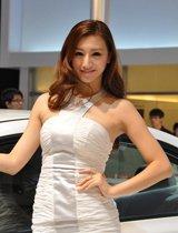 白裙车模知性之美