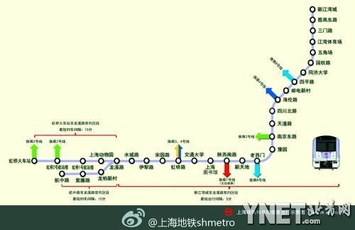 上海地铁十号线昨晚八点恢复运营