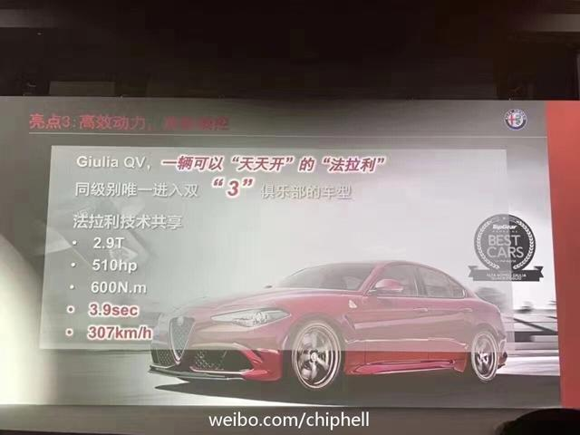 Giulia四月上市 推6款车型/疑似售33-102万