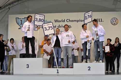 大众法兰克福车展上为世界节油大赛冠军加冕