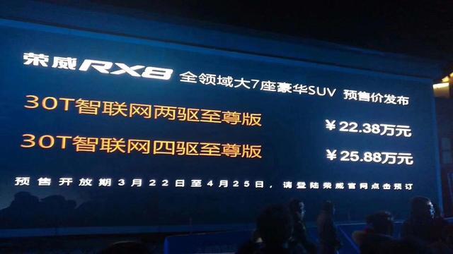 挑战汉兰达 荣威RX8预售22.38-25.88万元
