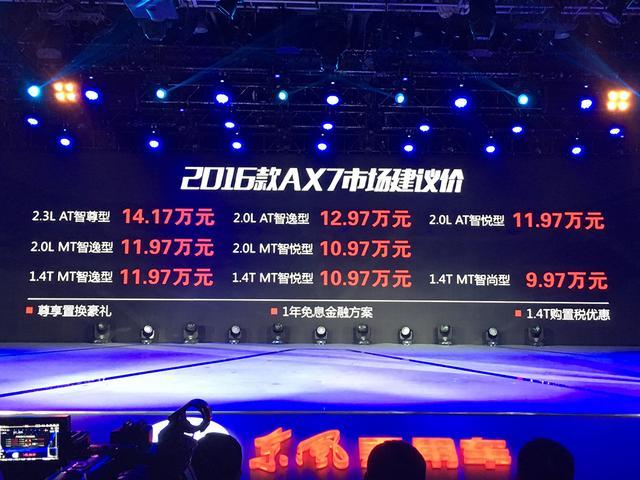2016款东风风神AX7上市 售9.97-14.17万元