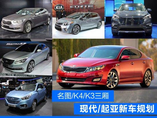 现代/起亚未来新车规划 名图/K4/K3两厢