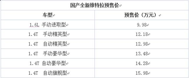 国产新维特拉将11月30日上市 预售9.98万起