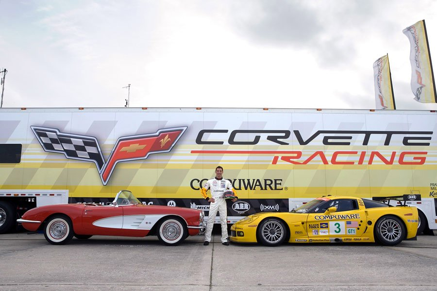 C6.R Corvette driver Max Papis with his 1958 Corvette
