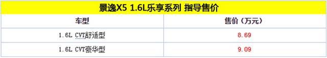 景逸X5 1.6L乐享系列上市 8.69万元起售