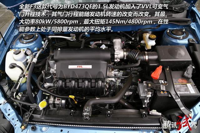 行驶性能:双离合变速箱表现抢眼   比亚迪全新f3   全新f3在发动机图片