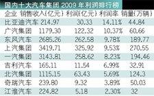 2009中国汽车集团利润率排行榜