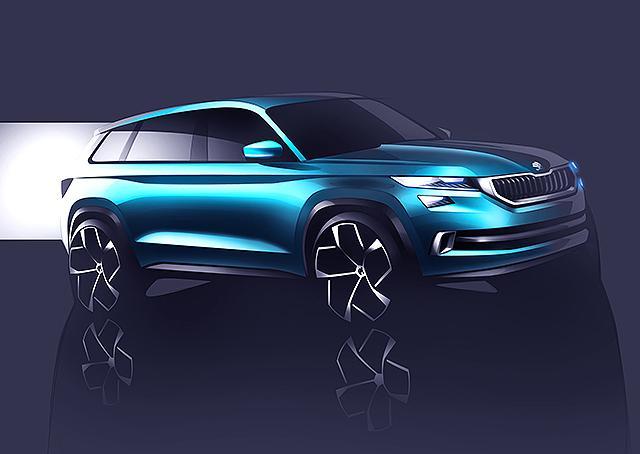 斯柯达VisionS概念车预告图 预览7座SUV