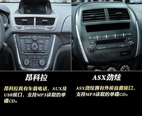 昂科拉全面对比ASX劲炫 在多媒体配置方面,昂科拉具有车载电话,AUX及USB接口,支持MP3读取的单碟CD。ASX劲炫拥有外接音源接口,支持MP3读取的单碟CD。既然是入门车型,在多媒体娱乐方面我们不能要求太多。 在舒适性配置方面,昂科拉拥有电动天窗,带防夹手功能的前后电动车窗,后雨刷,手动空调,作为一款入门车型这样的配置算是不错了。ASX劲炫拥有带防紫外线玻璃和防夹手功能的前后电动车窗,后雨刷,带花粉过滤的自动空调。昂科拉比ASX劲炫多了天窗,而ASX劲炫拥有自动空调,笔者认为是ASX劲炫的更实用,