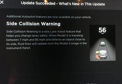 特斯拉Autopilot再次更新 提高最高限速\增加侧撞警示