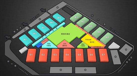2013上海车展各场馆分布图 启用17个展馆